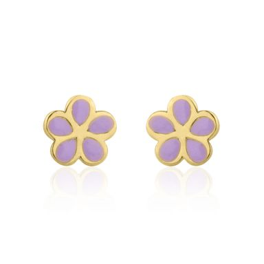 14K Yellow Gold Kid's Stud Earrings - Flowering Daisy - Lilac