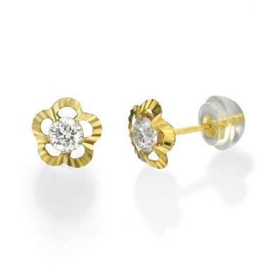 14K Yellow Gold Kid's Stud Earrings - Flower of Victoria