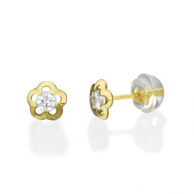 Gold Stud Earrings -  Jasmine Flower - Small