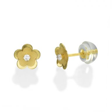 14K Yellow Gold Kid's Stud Earrings - Daisy Flower
