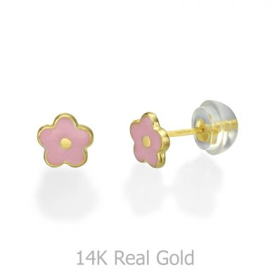 14K Yellow Gold Kid's Stud Earrings - Lotus Flower