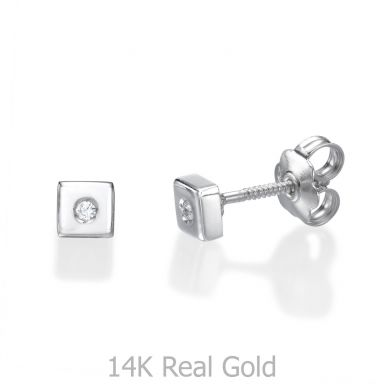 Stud Earrings in 14K White Gold - Sparkling Square