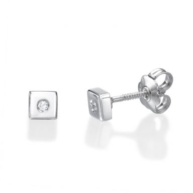 14K White Gold Kid's Stud Earrings - Sparkling Square