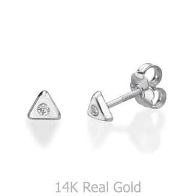 Stud Earrings in 14K White Gold - Sparkling Triangle