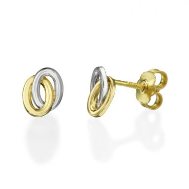 Stud Earrings in 14K White & Yellow Gold - Ellipse Circles