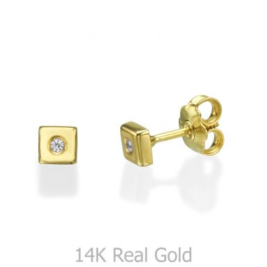14K Yellow Gold Kid's Stud Earrings - Sparkling Square