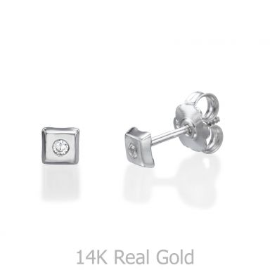 Stud Earrings in 14K White Gold - Sparkling Square Small