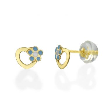 14K Yellow Gold Kid's Stud Earrings - Daisy Heart - Blue