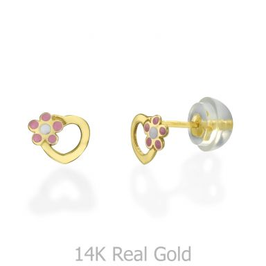 14K Yellow Gold Kid's Stud Earrings - Daisy Heart - Pink