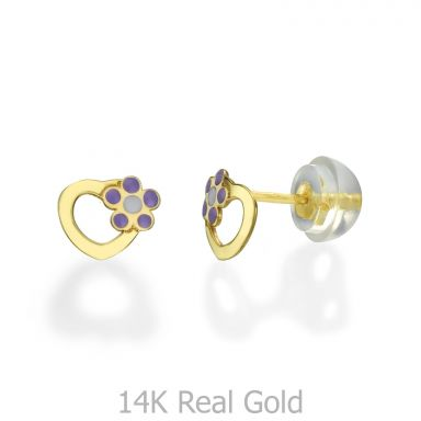 14K Yellow Gold Kid's Stud Earrings - Daisy Heart - Lilac