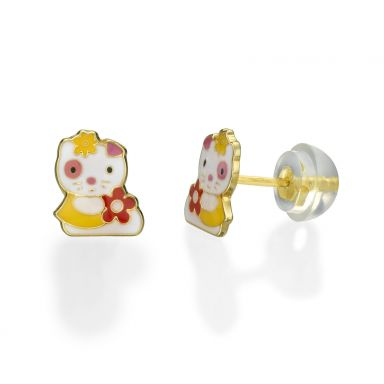Stud Earrings in 14K Yellow Gold - Charming Cat