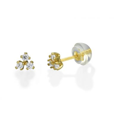 14K Yellow Gold Kid's Stud Earrings - Starburst Triangle