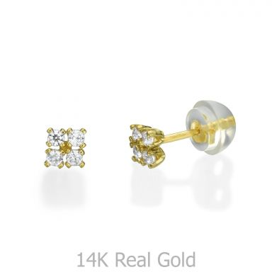 14K Yellow Gold Kid's Stud Earrings - Glittering Square