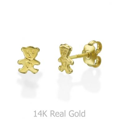 Stud Earrings in 14K Yellow Gold - Cute Teddy