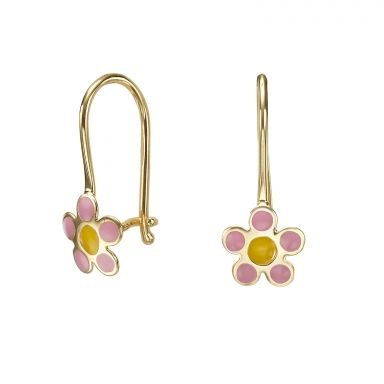 Dangle Earrings in14K Yellow Gold - Celia Flower