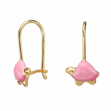 Dangle Earrings in14K Yellow Gold - Torti Tortoise