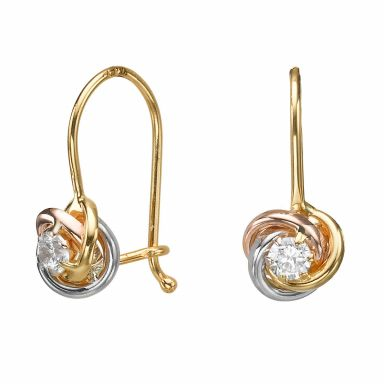 Dangle Earrings in14K Yellow Gold - Circles of Mary (Small)