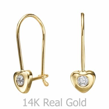 Dangle Earrings in14K Yellow Gold - Heart of Oriana
