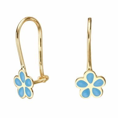 Dangle Earrings in14K Yellow Gold - Isabella Flower - Light Blue