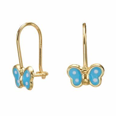 Dangle Earrings in14K Yellow Gold - Noah Butterfly - Light Blue