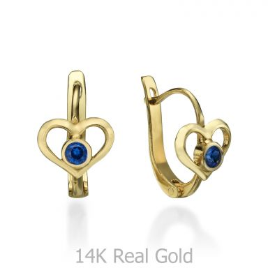 Dangle Tight Earrings in14K Yellow Gold - Grand Heart
