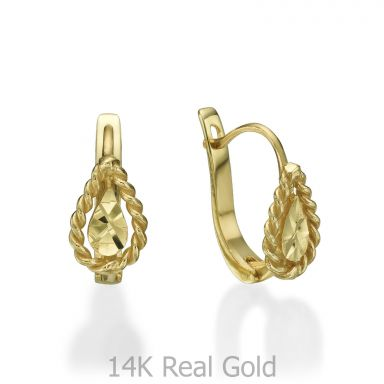 Dangle Tight Earrings in14K Yellow Gold - Drop of Joy