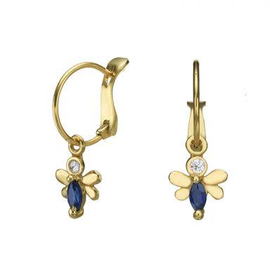 Hoop Earrings in14K Yellow Gold - Honey Bee