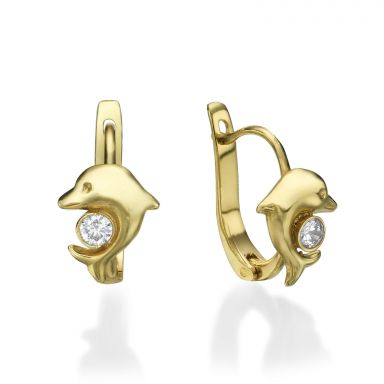 Dangle Tight Earrings in14K Yellow Gold - Dolly Dolphin