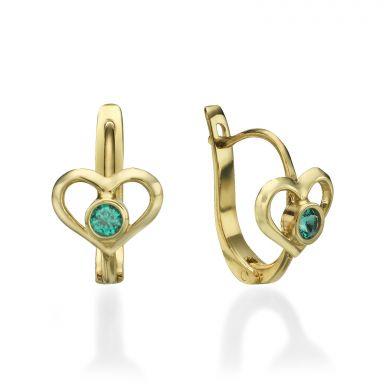 Dangle Tight Earrings in14K Yellow Gold - Heart of Ava