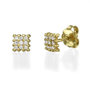 14K Yellow Gold Teen's Stud Earrings - Charm