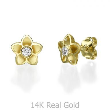 14K Yellow Gold Teen's Stud Earrings - Flowery