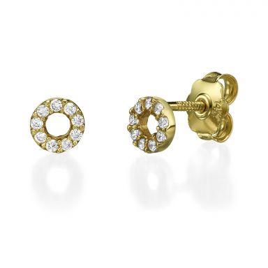 14K Yellow Gold Teen's Stud Earrings - Circles of Joy Small
