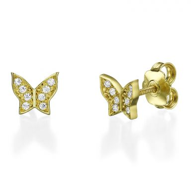 14K Yellow Gold Teen's Stud Earrings - Ashton Butterfly