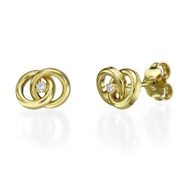 14K Yellow Gold Teen's Stud Earrings - Linked circles