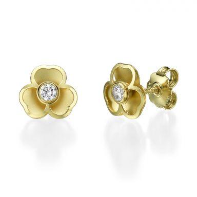 Stud Earrings in 14K Yellow Gold - Lovely Flower