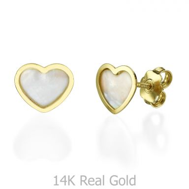 Stud Earrings in 14K Yellow Gold - Mother of Pearl Heart