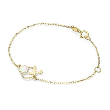 14K Gold Girls' Bracelet - Dove and Flower
