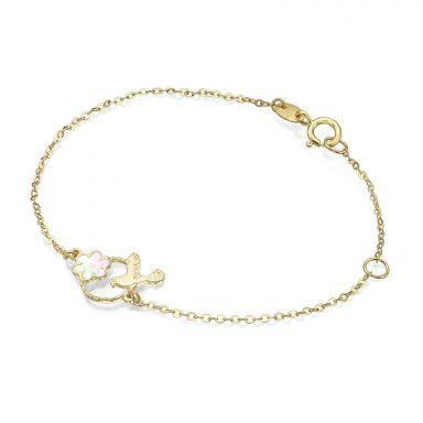 14K Gold Girls' Bracelet - Dove and Flower