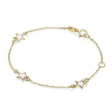 14K Gold Girls' Bracelet - Mother-of-Pearl Stars