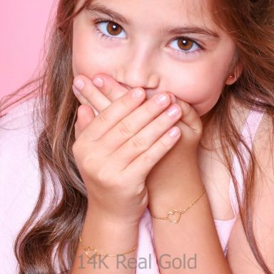 14K Gold Girls' Bracelet - Shining Heart