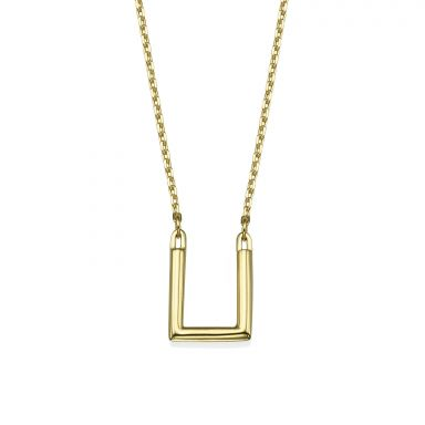 Pendant and Necklace in 14K Yellow Gold - Golden Square