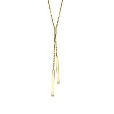 Pendant and Necklace in 14K Yellow Gold - Light Beam
