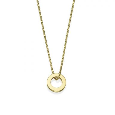 Pendant and Necklace in 14K Yellow Gold - Golden Circle