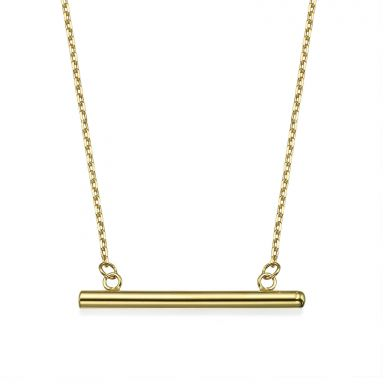 Pendant and Necklace in 14K Yellow Gold - Golden Bar