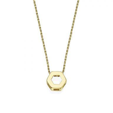 14K Yellow Gold Women's Pendants - Golden Hexagon