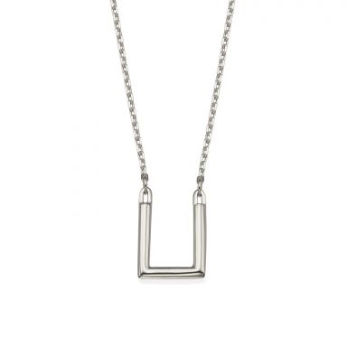 Pendant and Necklace in 14K White Gold - Golden Square