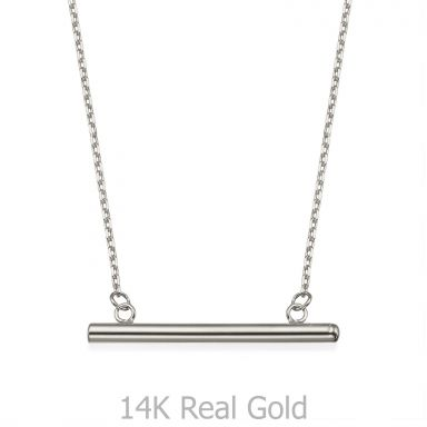 Pendant and Necklace in 14K White Gold - Golden Bar