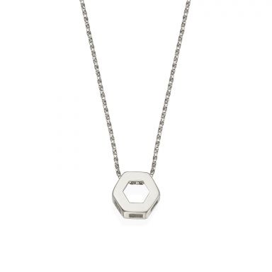 Pendant and Necklace in 14K White Gold - Golden Hexagon