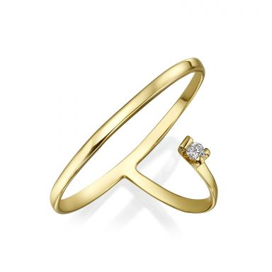 Diamond Ring in 14K Yellow Gold - Fortuna