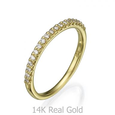 Diamond Band Ring in 14K Yellow Gold - Princess